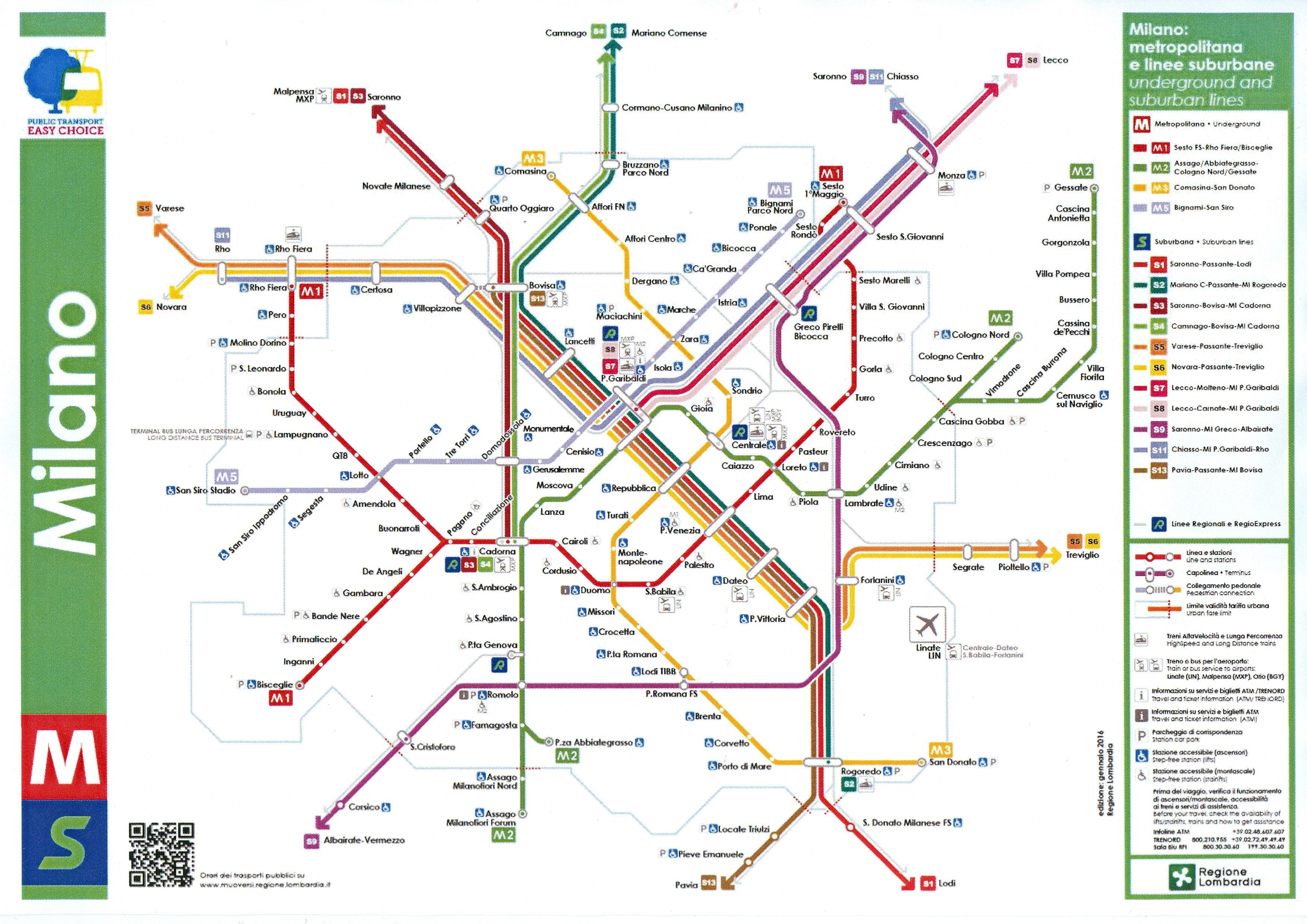 S-Bahn Mailand Karte Bild